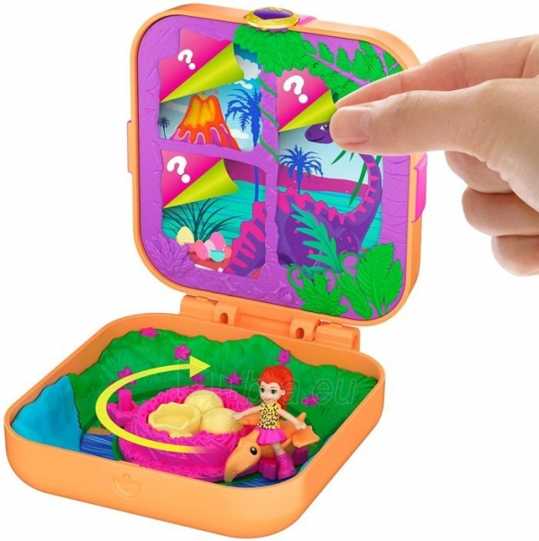 Rinkinys GKV10 / GDK76 Polly Pocket Hidden Hideouts Lila Dino Discovery Compact Hidden Hideouts and Reveals Paveikslėlis 2 iš 5 310820230703