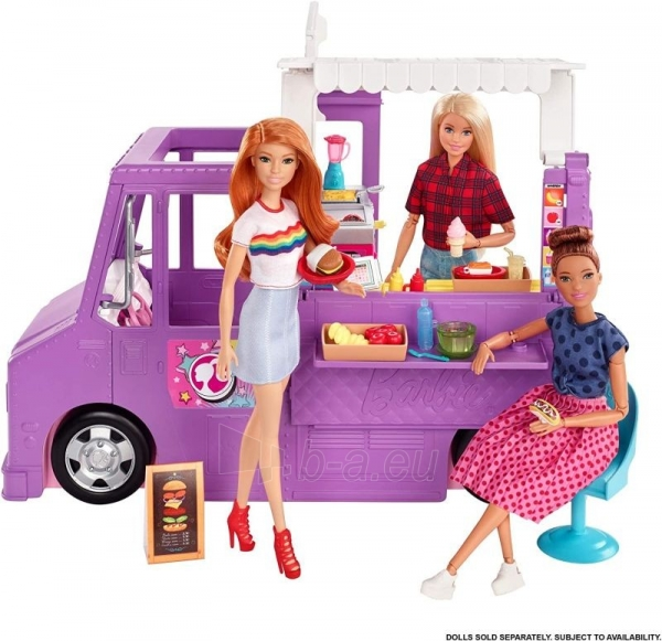 Rinkinys GMW07 Barbie®Food Truck with Multiple Play Areas & 30+ Realistic Play Pieces Paveikslėlis 1 iš 6 310820230591