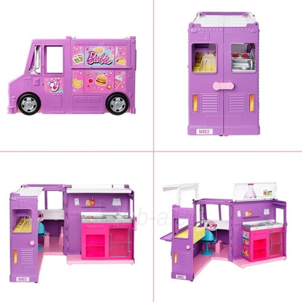 Rinkinys GMW07 Barbie®Food Truck with Multiple Play Areas & 30+ Realistic Play Pieces Paveikslėlis 5 iš 6 310820230591