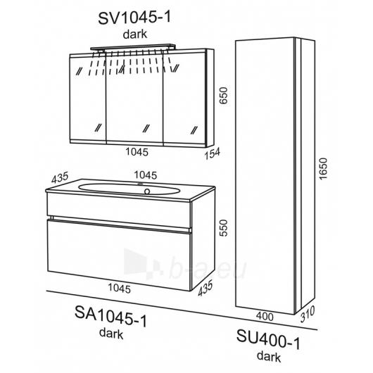 Riva pakabinama aukšta spintelė SU 400-1 Paveikslėlis 3 iš 3 270760000024
