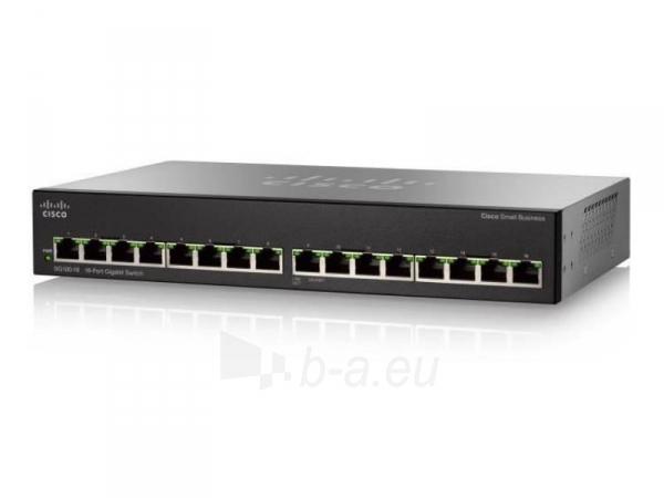 Šakotuvas Cisco SG110-16 16-Port Gigabit Switch Paveikslėlis 1 iš 2 310820015973