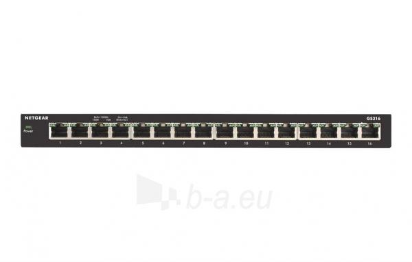 Šakotuvas Netgear 16-Port Gigabit Desktop Switch Metal (GS316) Paveikslėlis 2 iš 5 310820015963