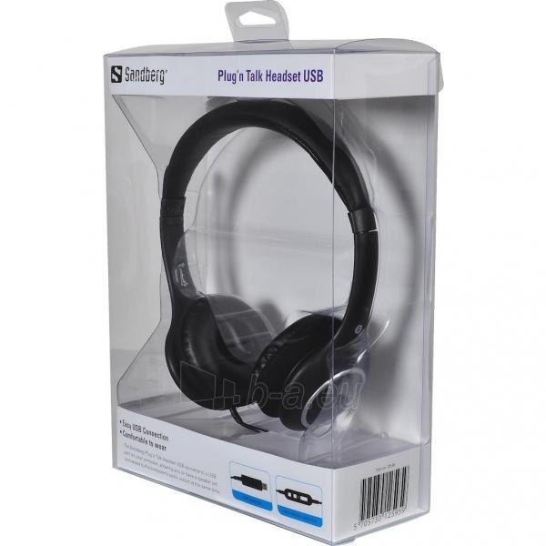 Sandberg ausinės su mikrofonu Plug'n Talk Headset Black Paveikslėlis 2 iš 2 250255091251