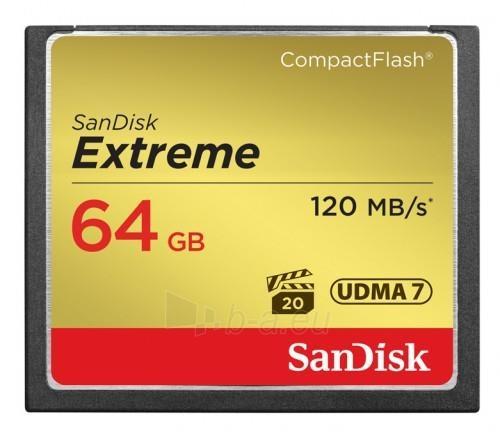 SanDisk Compact Flash Extreme 64GB UDMA7 (transfer 120MB/s) Paveikslėlis 1 iš 1 250255123587