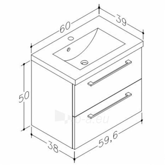 Scandic cabinet with wash basin 60cm, drawers Paveikslėlis 3 iš 5 30057400014