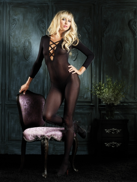Sheer Long Sleeved Bodystocking V neck Paveikslėlis 1 iš 1 25140811000252