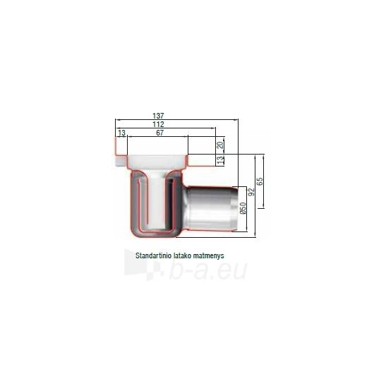 ShowerDrain C dušo latakas 92 TILE su vertik. flanšu, L=88,5 Paveikslėlis 2 iš 3 270790000062