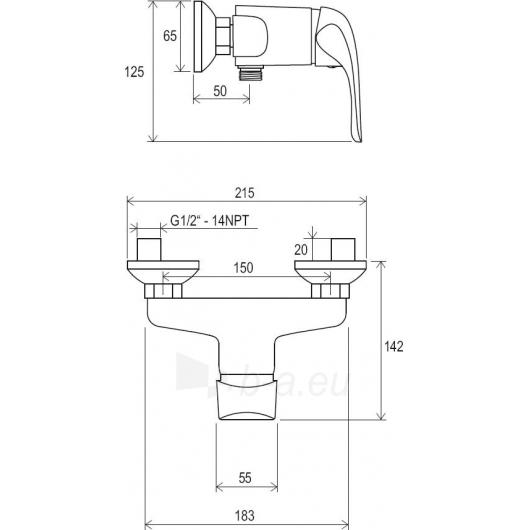 Sieninis dušo maišytuvas Rosa, 150 mm Paveikslėlis 4 iš 4 270721000810