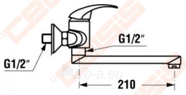 Sieninis plautuvės maišytuvas JIKA Lyra, su 210 mm sukiojamu snapu, chromuotas Paveikslėlis 2 iš 2 270723000645