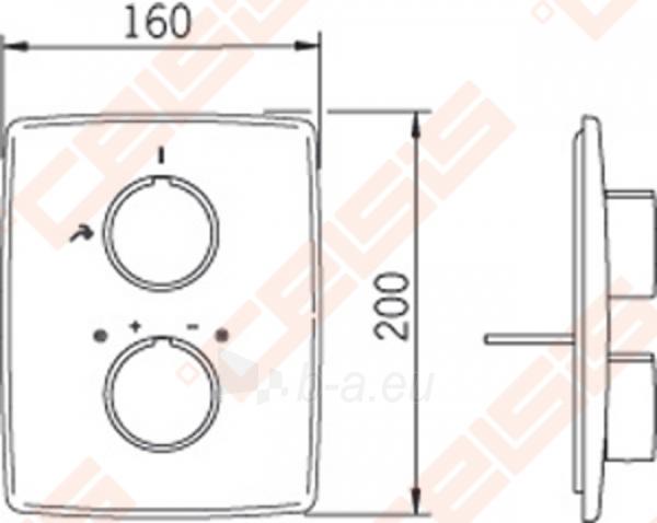 Sienoje montuojamo termostatinio dušo maišytuvo išorinė dekoratyvinė dalis ORAS Cubista Paveikslėlis 2 iš 2 30091700018