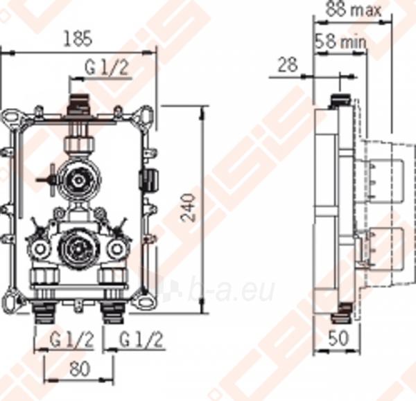 Sienoje montuojamo termostatinio dušo maišytuvo korpusas ORAS Cubista Paveikslėlis 2 iš 2 30091700019