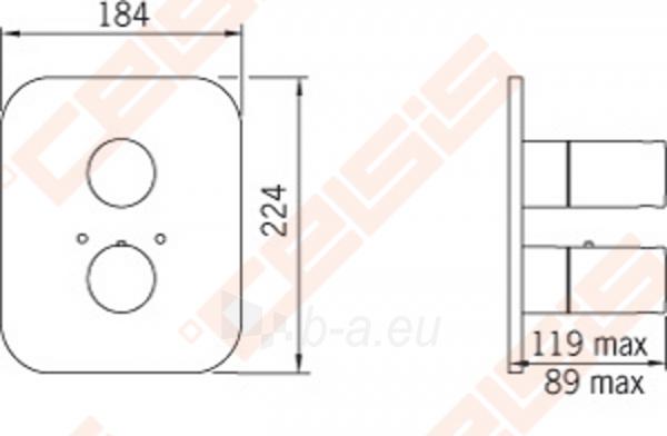 Sienoje montuojamo termostatinio vonios ir dušo maišytuvo išorinė dekoratyvinė dalis IL BAGNO ALESSI Dot by Oras Paveikslėlis 2 iš 2 30091700020