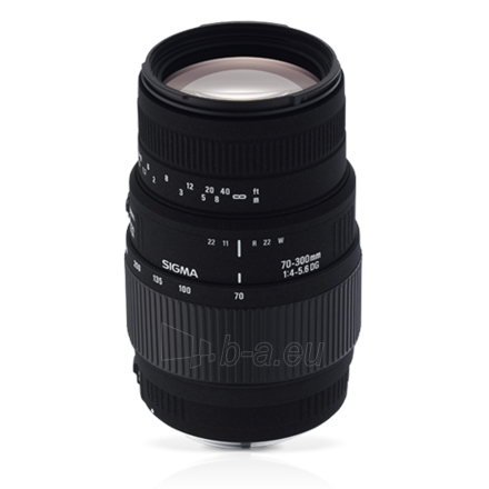 Sigma AF 70-300mm F4-5.6 DG MACRO for Nikon, 14 Elements in 10 Groups, Angle of View: 34.3degrees - 8.2degrees, 9 Blades Paveikslėlis 1 iš 1 250222040100357