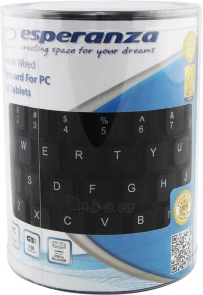 Silikoninė klaviatūra Esperanza EK126K USB/OTG Lanksti Atspari vandeniui / Juoda Paveikslėlis 6 iš 6 250255701102