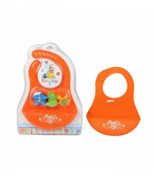 Silikoninis vaikiškas seilinukas su žaisliukais Paveikslėlis 1 iš 1 310820221239