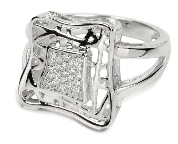 Silver Cat sidabrinis žiedas su kristalu SC016 (Dydis: 56 mm) Paveikslėlis 1 iš 2 310820023393