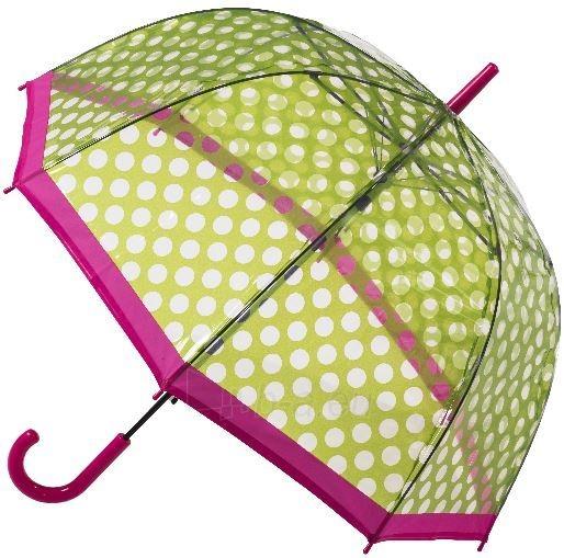 Skėtis Blooming Brollies Ladies Umbrella Clear Dome Stick Umbrella with Green Polka dots POES GP Paveikslėlis 1 iš 1 310820165969