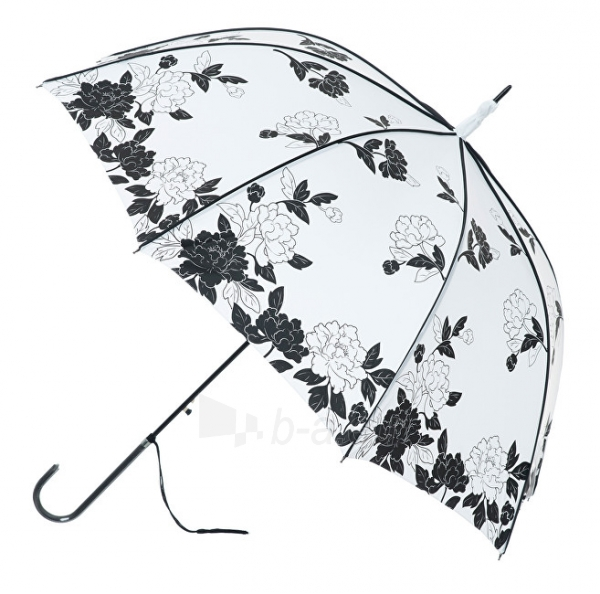 Skėtis Blooming Brollies Women´s fully automatic umbrella BOUTIQUE VINTAGE PRINT WHITE AND BLACK LEAVES STICK UMBRELLA Paveikslėlis 1 iš 1 310820152404