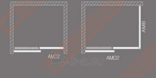 Slankiojančios dušo durys ROLTECHNIK AMBIENT LINE AMD2/1200 skirtos montuoti į nišą su sidabro spalvos profiliu ir skaidriu stiklu Paveikslėlis 3 iš 3 270770000368