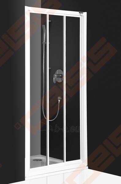 Slankiojančios dušo durys ROLTECHNIK CLASSIC LINE PD3N/100 montavimui į nišą su baltos spalvos profiliu ir matiniu stiklu Paveikslėlis 1 iš 4 270770000372