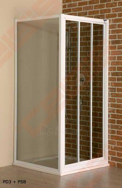 Slankiojančios dušo durys ROLTECHNIK CLASSIC LINE PD3N/100 montavimui į nišą su baltos spalvos profiliu ir matiniu stiklu Paveikslėlis 2 iš 4 270770000372