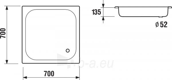 SOFIA dušo padėklas 70 x 70 cm, baltas Paveikslėlis 2 iš 2 270780000110