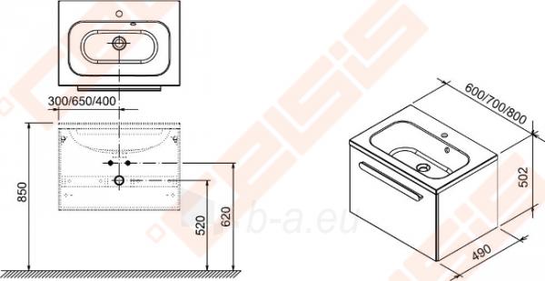 Spintelė praustuvui RAVAK CHROME SD 600 x 490 x 470 mm, strip onikso spalvos Paveikslėlis 2 iš 3 270760000064