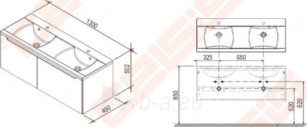 Spintelė praustuvui RAVAK CLASSIC SD 1300 x 490 x 470 mm, espresso spalvos Paveikslėlis 2 iš 5 270760000071