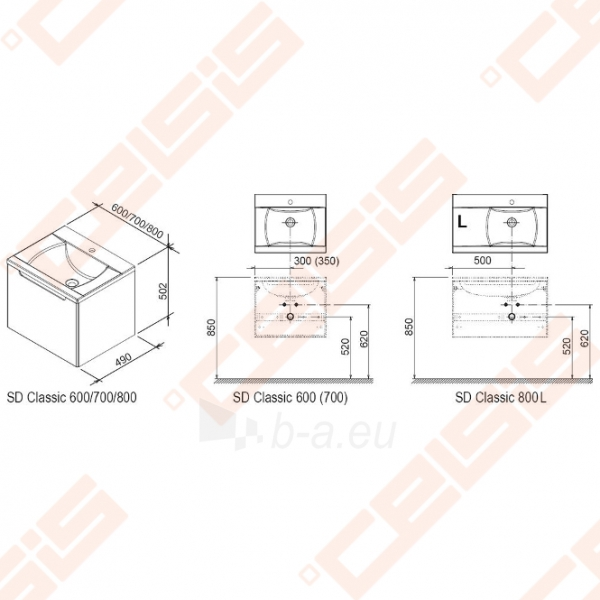 Spintelė praustuvui RAVAK CLASSIC SD 600 x 490 x 470 mm, strip onikso spalvos Paveikslėlis 2 iš 6 270760000076