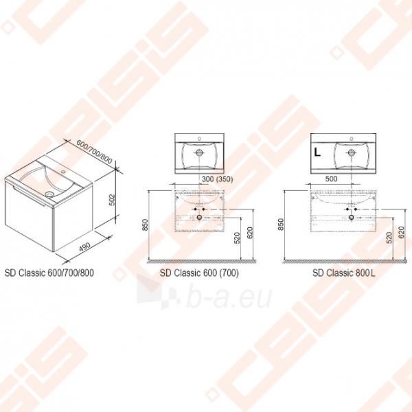 Spintelė praustuvui RAVAK CLASSIC SD 800 x 490 x 470 (kairinė) mm, baltos spalvos Paveikslėlis 2 iš 3 270760000085