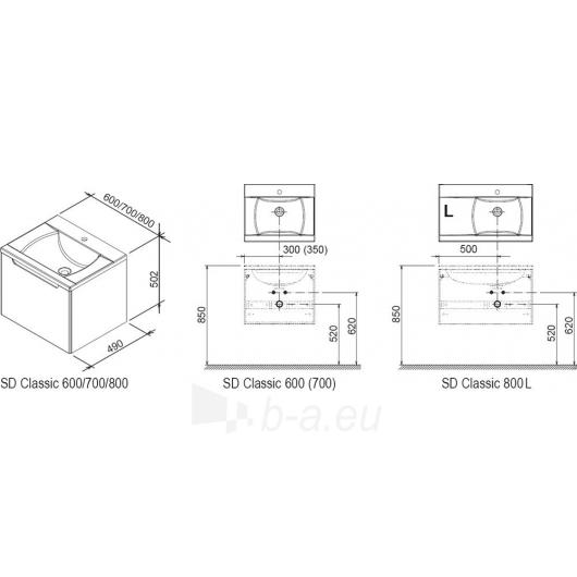 Spintelė praustuvui Ravak SD 800 Classic R/L balta/balta Paveikslėlis 2 iš 2 30057400043