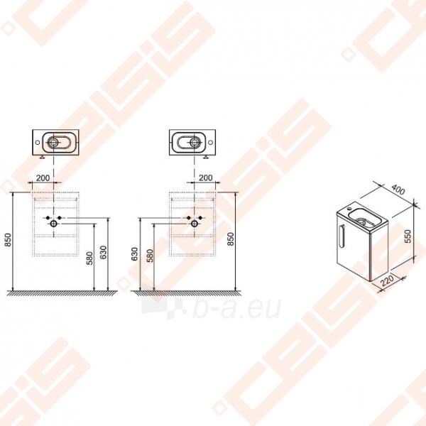 Spintelės korpusas mažam praustuvui RAVAK CHROME SD 400 x 220 x 500 mm, strip onikso spalvos Paveikslėlis 2 iš 3 270760000092