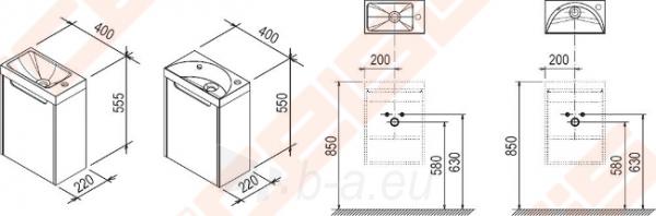 Spintelės korpusas mažam praustuvui RAVAK CLASSIC MINI SD 400 x 220 x 500 mm, espresso spalvos Paveikslėlis 2 iš 5 270760000095