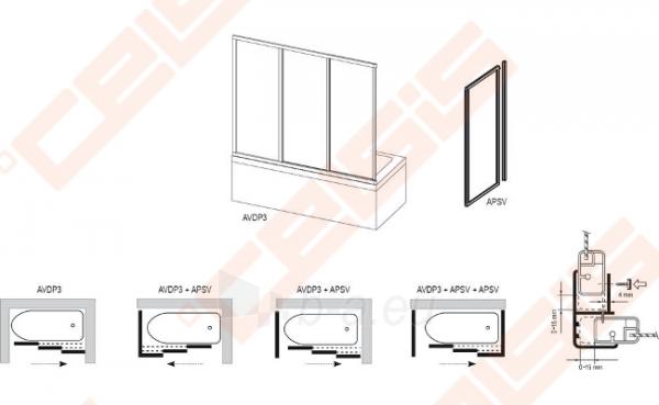 Stabili vonios sienelė RAVAK APSV-75 su baltos spalvos profiliu ir matiniu stiklu Paveikslėlis 2 iš 2 270717001131