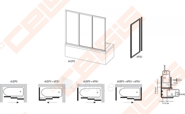 Stabili vonios sienelė RAVAK APSV-80 su baltos spalvos profiliu ir skaidriu stiklu Paveikslėlis 2 iš 2 270717001136