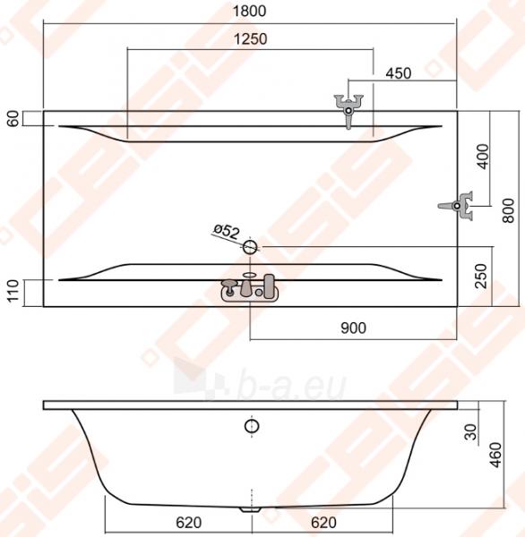 Stačiakampė vonia ROLTECHNIK SAVONA 180x80 cm Paveikslėlis 2 iš 2 270716000989