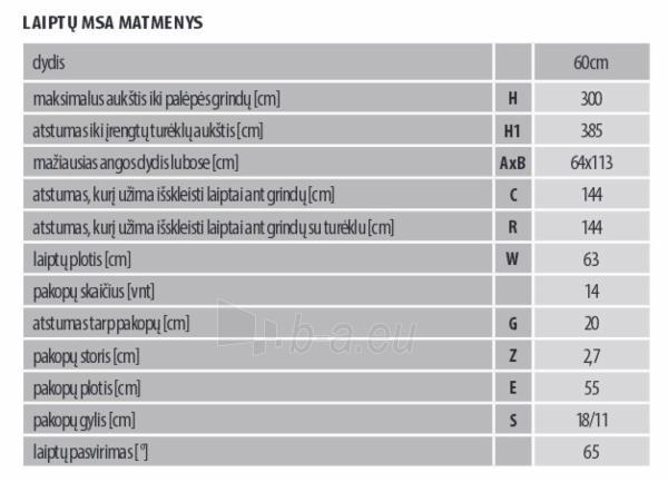 Stacionarūs laiptai MSA ALTERO 60 cm. Paveikslėlis 3 iš 3 310820038420