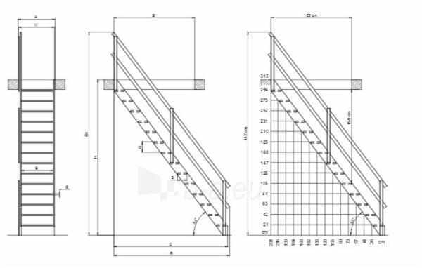 Stacionārās kāpnes MSS SUPERIOR 70 cm. Paveikslėlis 3 iš 3 310820038423