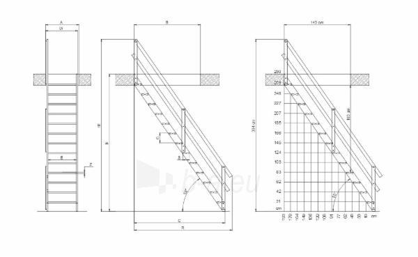 Stacionarūs laiptai MSU UNIVERSAL 65 cm. Paveikslėlis 3 iš 4 310820038405