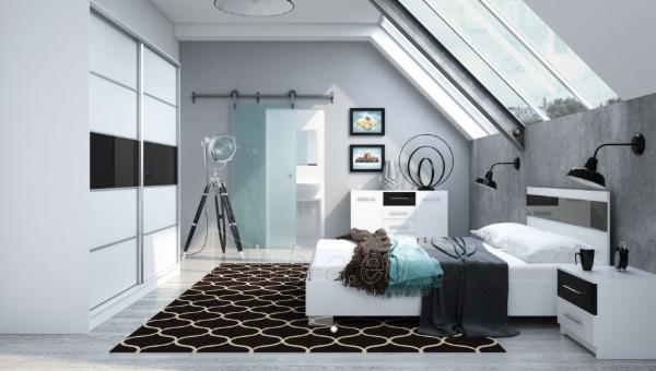 Naktinė spintelė Dubaj balta/juoda Paveikslėlis 2 iš 2 310820011225