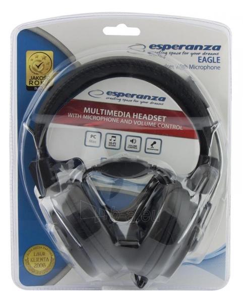 Stereo ausinės su mikrofonu Esperanza EH154K Garso reguliavimas Black / grey Paveikslėlis 4 iš 6 250255091011