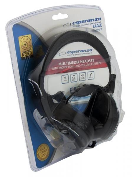 Stereo ausinės su mikrofonu Esperanza EH154K Garso reguliavimas Black / grey Paveikslėlis 5 iš 6 250255091011