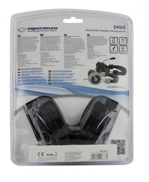 Stereo ausinės su mikrofonu Esperanza EH154K Garso reguliavimas Black / grey Paveikslėlis 6 iš 6 250255091011