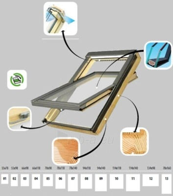 Stoglangis FAKRO FTP-V su stiklo paketu U3, 55x78 cm, pušies medienos Paveikslėlis 2 iš 4 237910000401