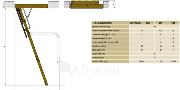 Sudedami laiptai FAKRO LWK KOMFORT 60x140x305 3 segmentų Paveikslėlis 4 iš 5 237960000024
