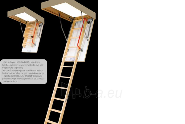 Folding section loft ladders FAKRO LWK KOMFORT 70x94x280 4 section Paveikslėlis 3 iš 5 237960000030