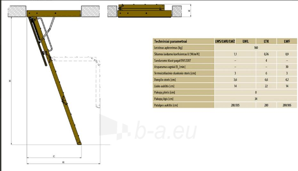 Folding section loft ladders FAKRO LWS Smart 60x100x280 3 section Paveikslėlis 6 iš 7 237960000009