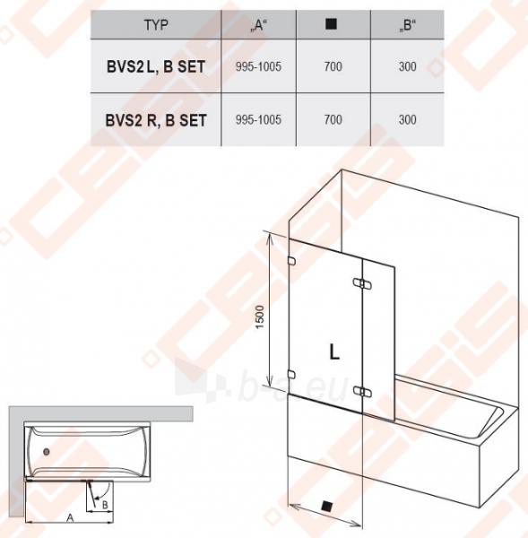 Sulankstoma dviejų dalių vonios sienelė RAVAK BVS2-100 su chromuotom detalėm ir skaidriu stiklu, dešinė pusė Paveikslėlis 3 iš 3 270717001138