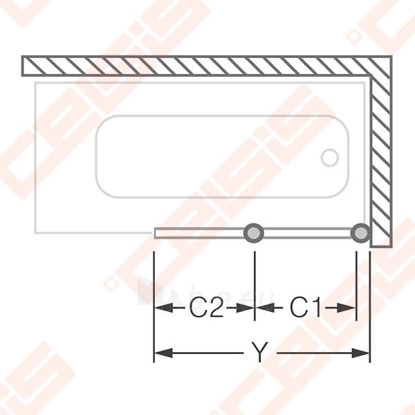 Sulankstoma vonios sienelė CH2/122 su baltos spalvos profiliu ir plastiko bark užpildu Paveikslėlis 4 iš 5 270717001141