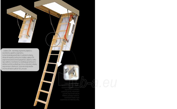 LDK double-section loft ladder with a slidable lower section FAKRO LDK 70x140x335 (wooden ladders) Paveikslėlis 3 iš 6 237960000057